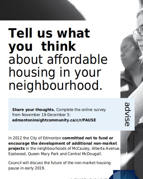 City of Edmonton Survey Call non-market housing pause