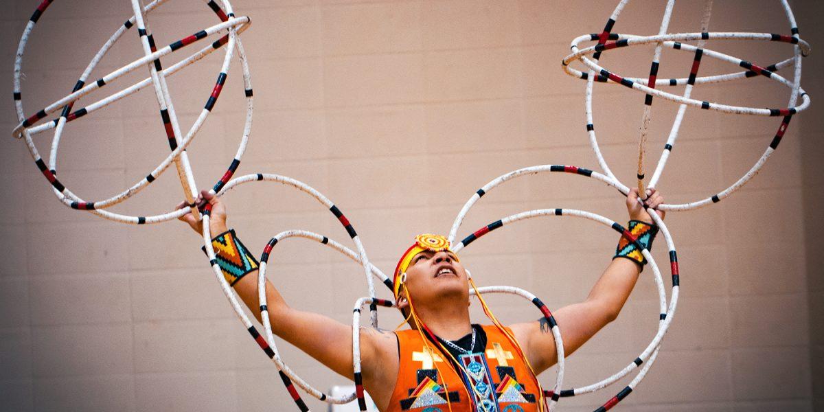 Hoop dancer Lakota Tootoosis. Todd Homan.