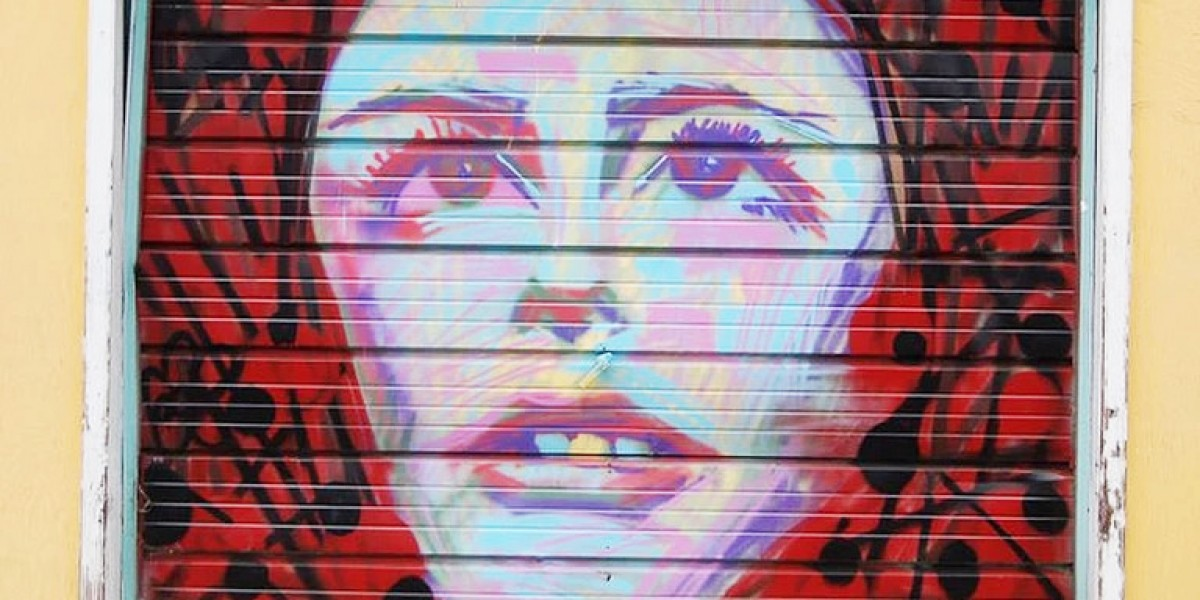 McCauley Community League - Mural Painting of Woman's face on garage door